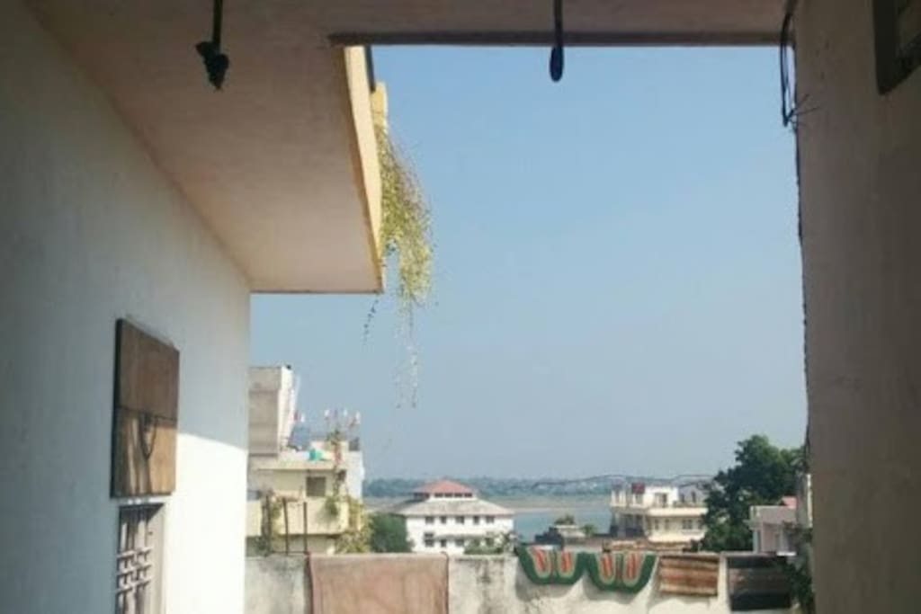 River Ganga can be seen from terrace