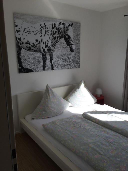 Freundliches Schlafzimmer mit großem Doppelbett.