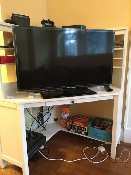 TV with cable, wifi, game systems and board games