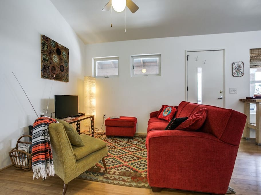 The cozy living room has a blue-ray player with Netflix, HBO, etc. accessibility from your account as well. There are lots of DVDs also available for nights staying in.