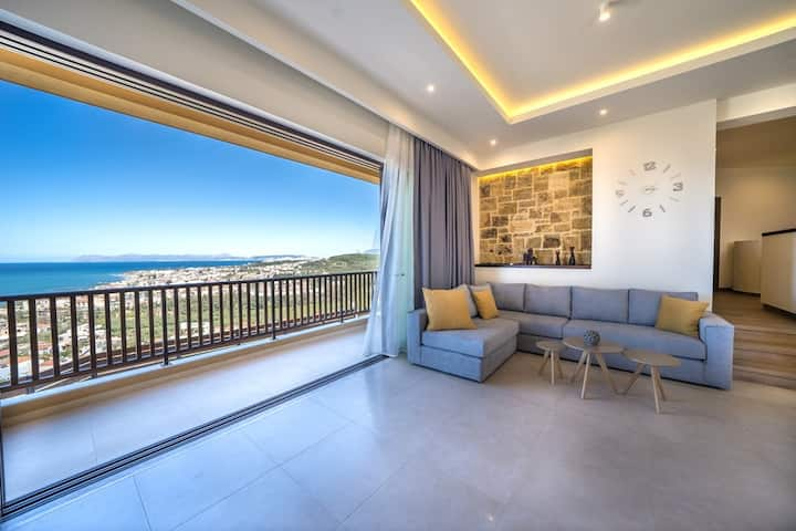 Golden Seaview Villa, 800m From Platanias Beach