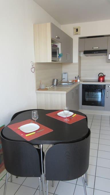 Cuisine équipée:plaques électriques, four, micro-ondes,réfrigérateur,grille-pain, cafetière.