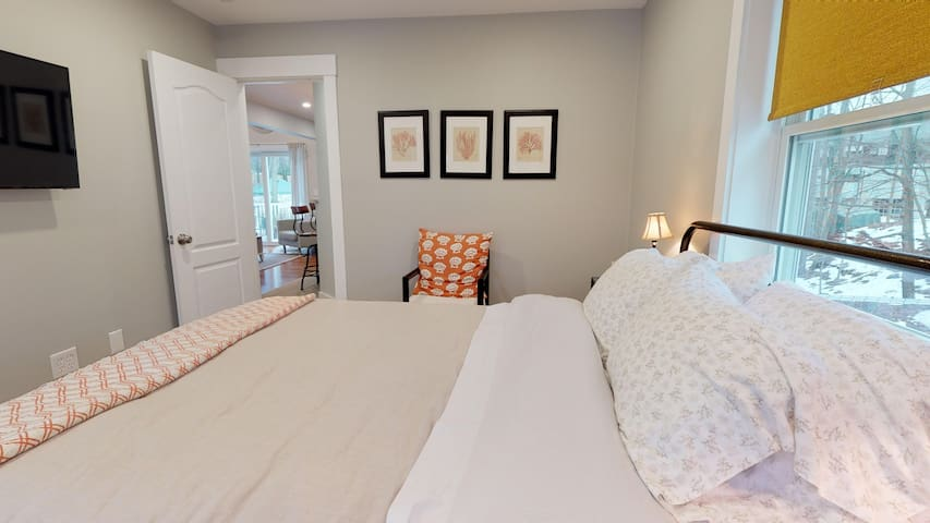 Second bedroom with queen size bed and television.