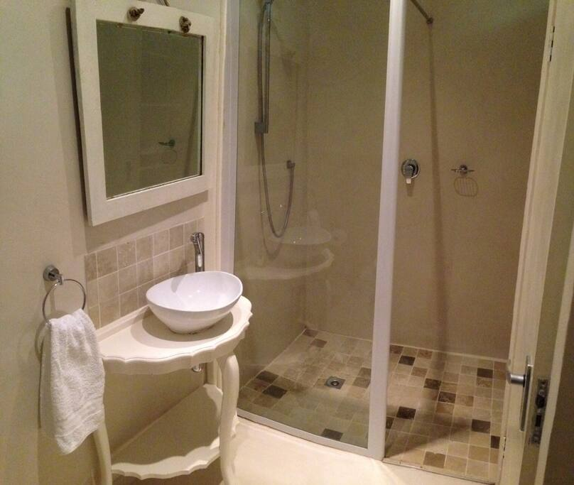 Bathroom with huge walk-in shower and nice big mirror