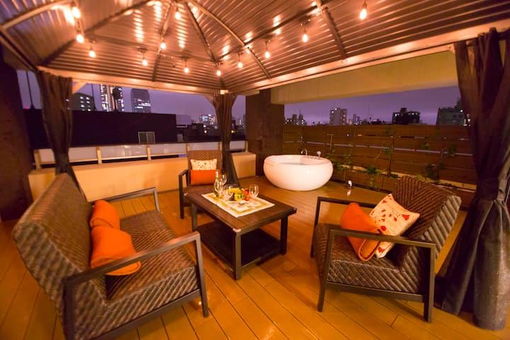 Luxury Apt w/Hot Tub & Skytree View 5 min from Sta