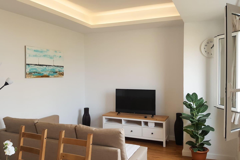 Living room sofa and smart TV set