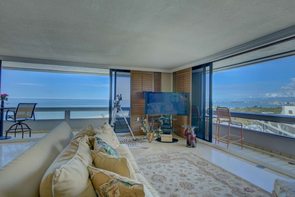 Expansive balconies for full viewing of Siesta Key Beach,  Lido Key, and the downtown skyline of Sarasota.