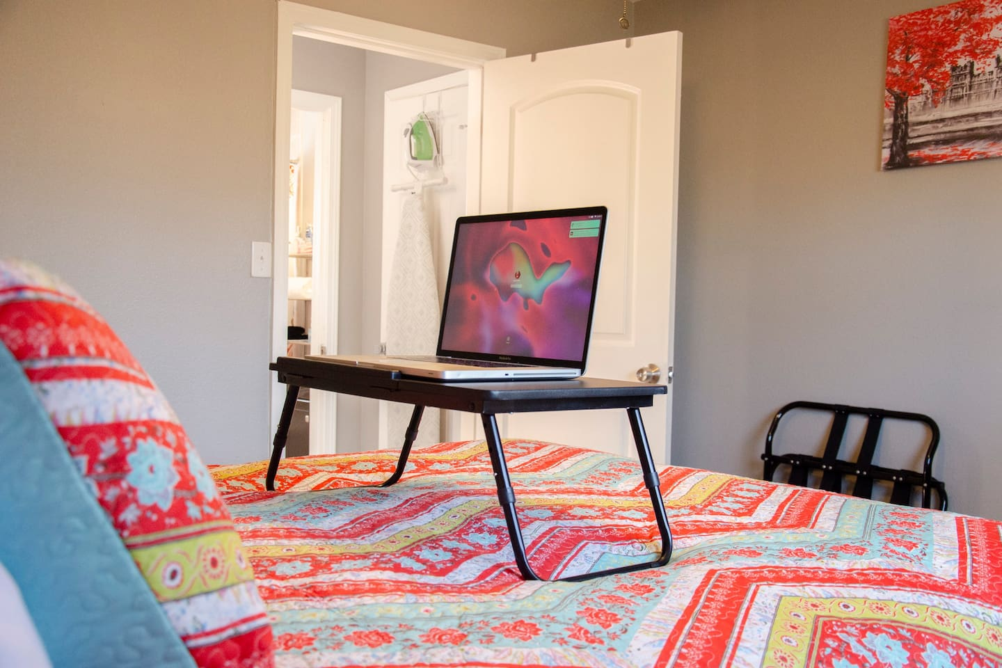Feel like working from bed? Convenient laptop tray to help make it easy.