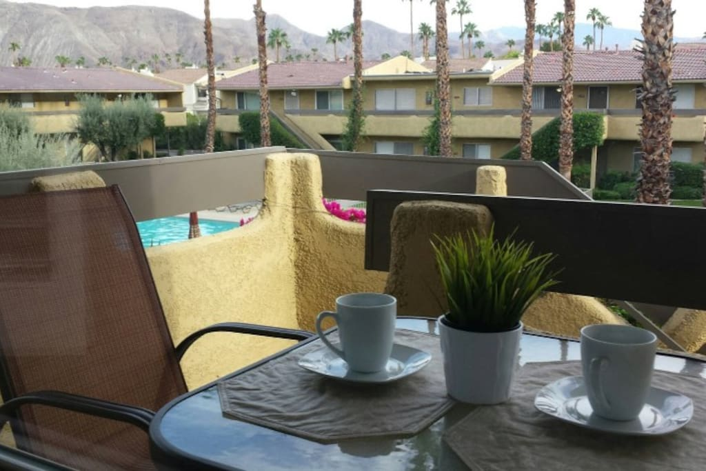 Personal outdoor breakfast table and view.