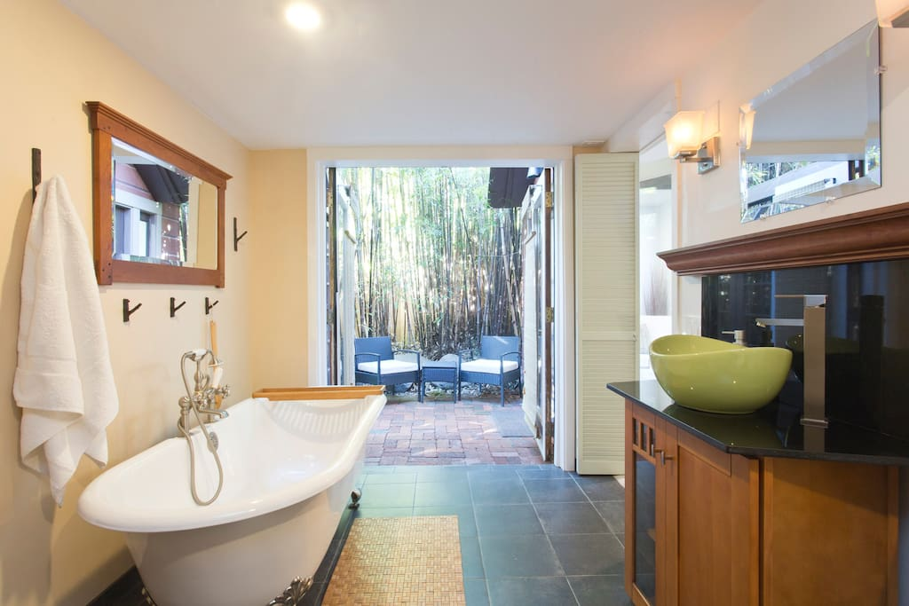 bathroom doors can open to private patio