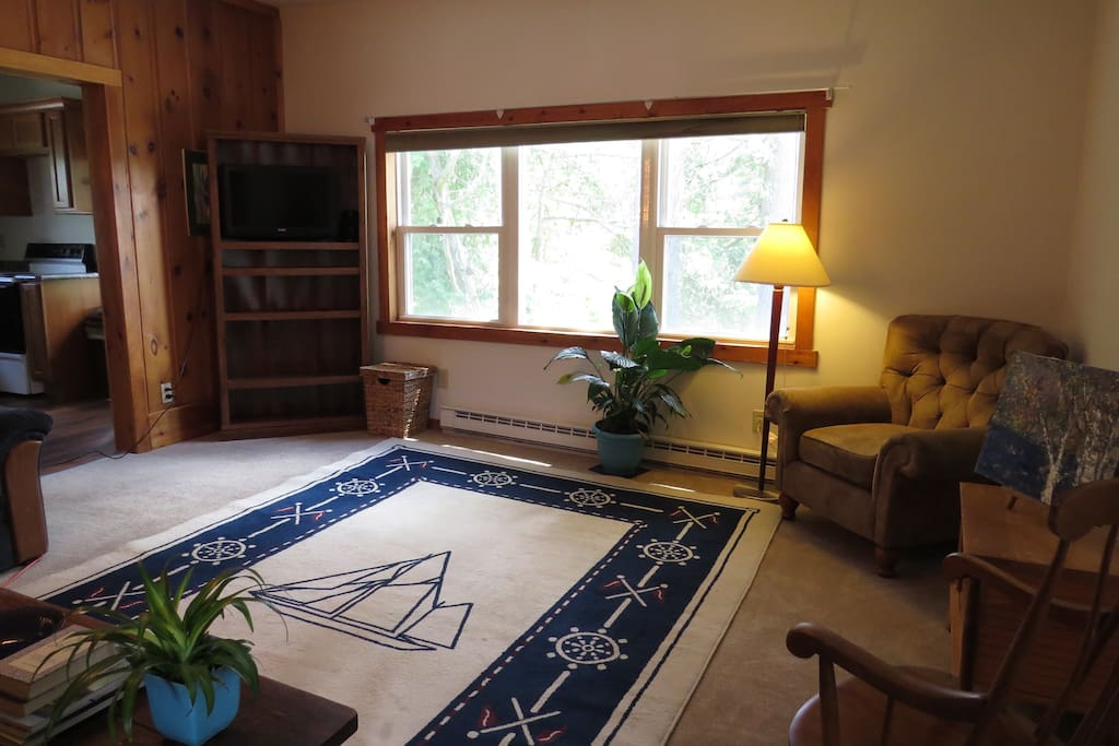 Living room, large window looks onto a  large wooded area. Cable television and wifi. New carpeting