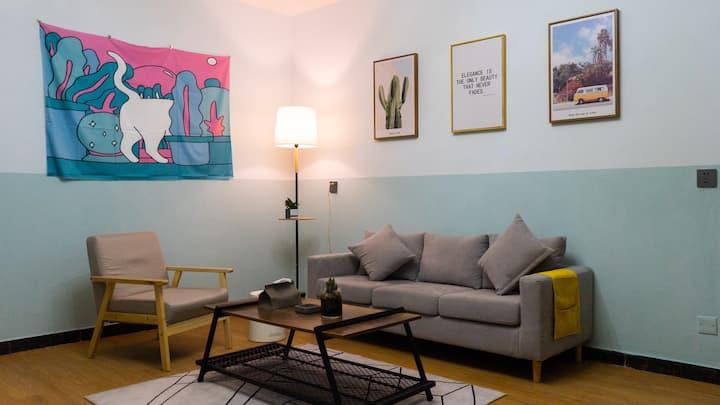 【YIGO HOME】一格民宿/美式复古一室一厅/100寸巨幕投影/0甲醛/双人大床乳胶床垫/大平台