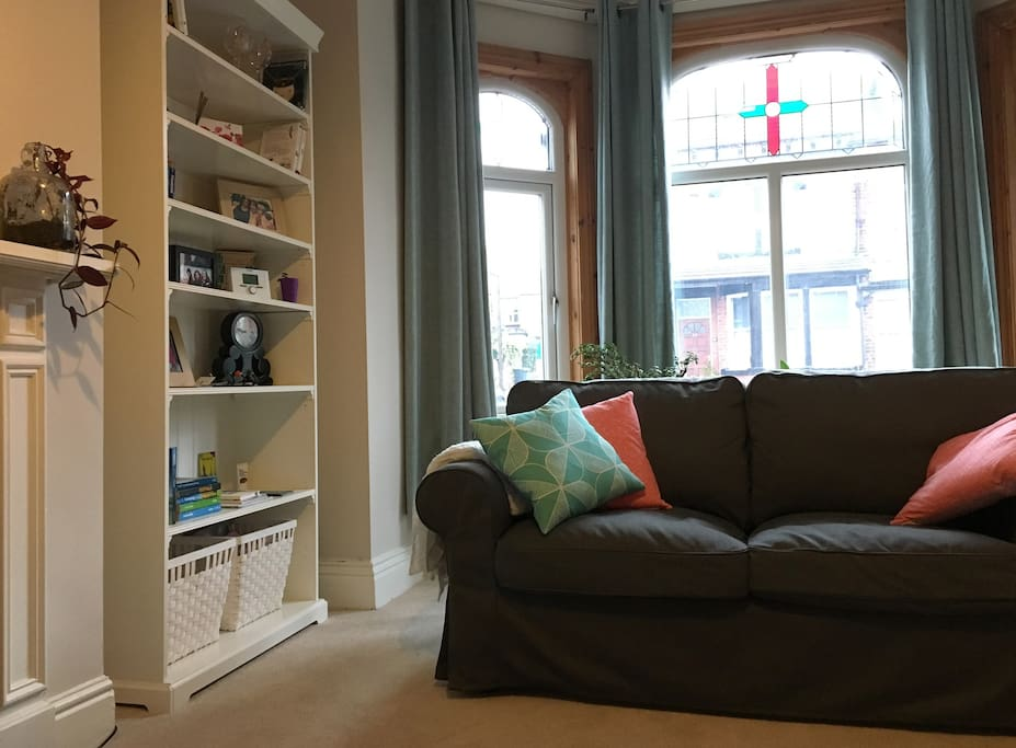 """Traditional Yorkshire """"back to back"""" terraced house. Living room with big bay window."""