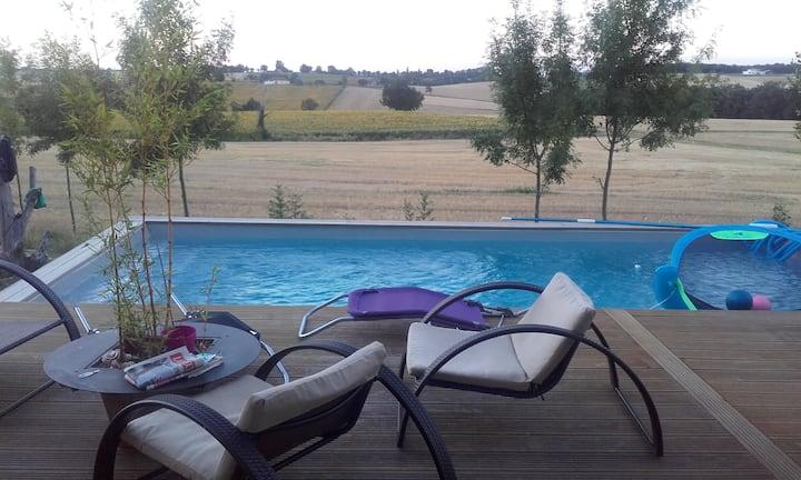 Belle Maison gersoise avec piscine logement entier