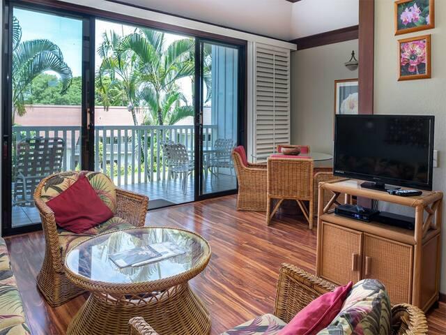Easy Poipu Living! Enjoy WiFi, Flat Screen, Kitchen, Lanai+Ceiling Fan–Kiahuna 2091