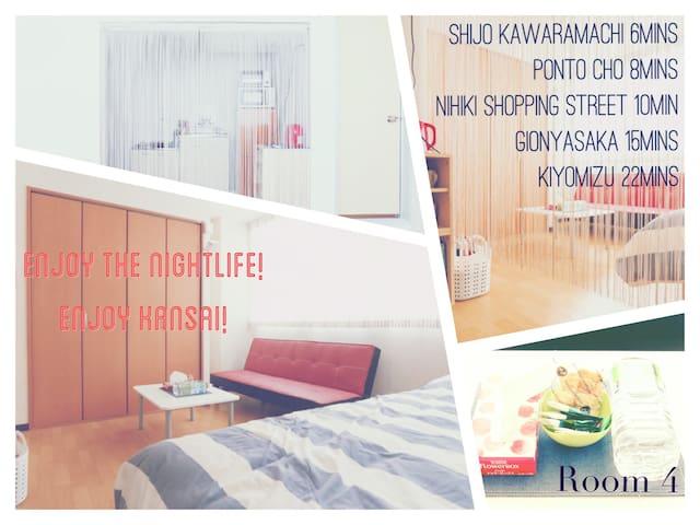 Enjoy nightlife&shopping!Shijo Kawaramachi 8mins★4