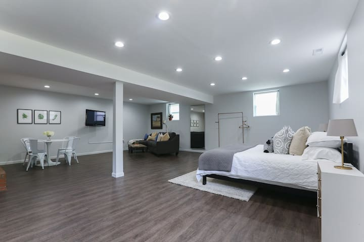 Brand new king studio with private garage!