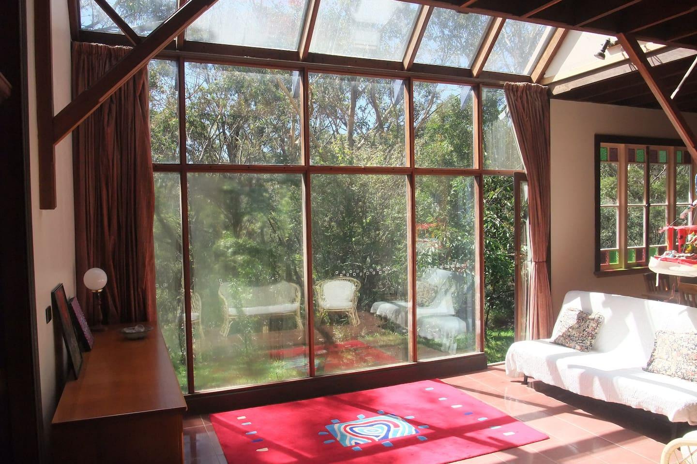 Spacious light sun-filled living area