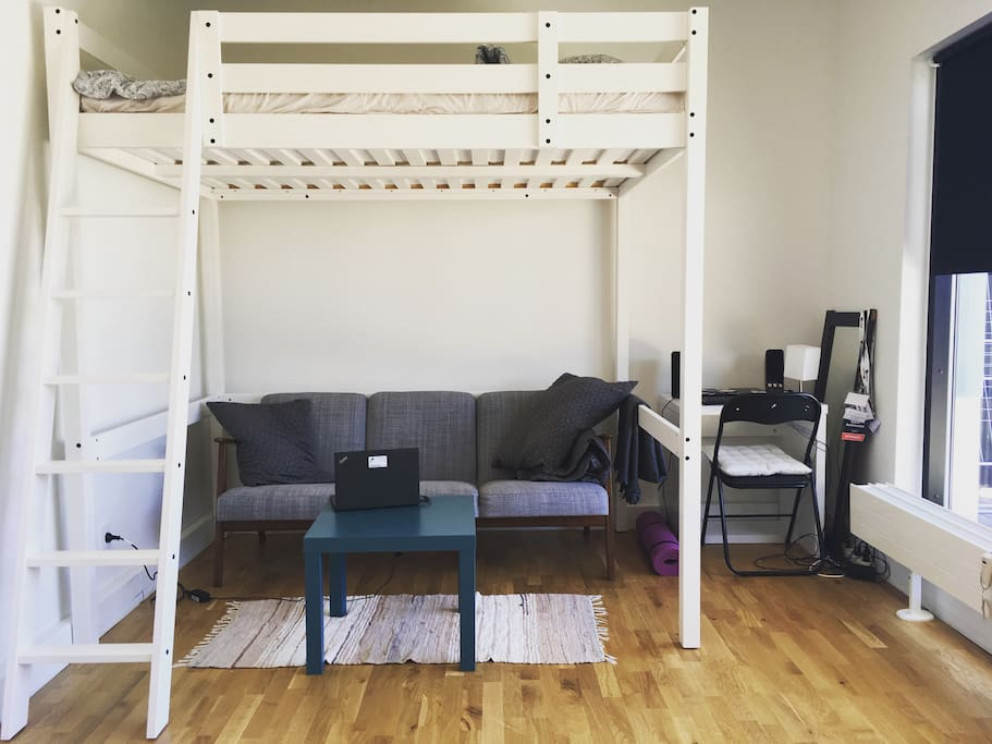 Double loft bed, comfy couch and desk
