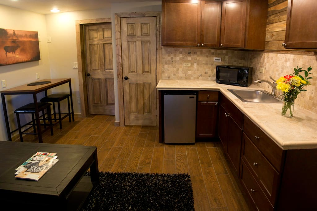 The only private kitchenette on the property makes The Silver Lake Lodge even more of a home away from home.