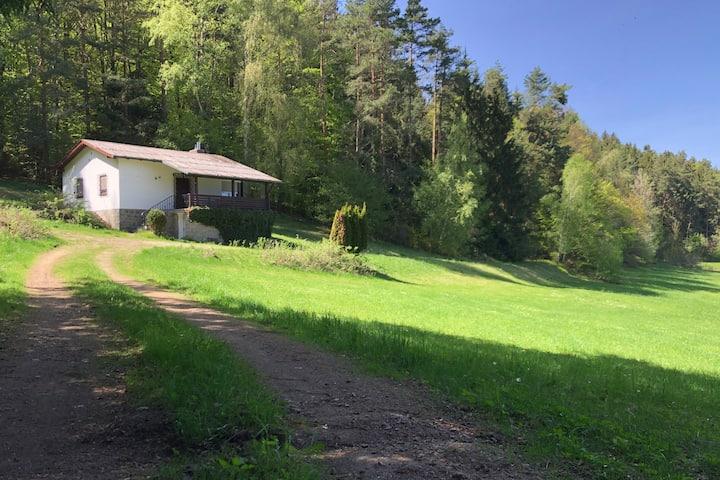 Forsthaus am Waldrand mit Ausblick im Bayer. Wald