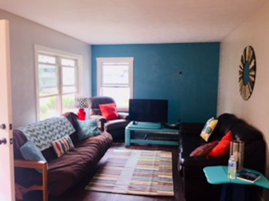 Living area with pull out futon and couch