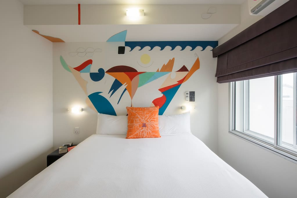 Each room is painted by a local SA artist