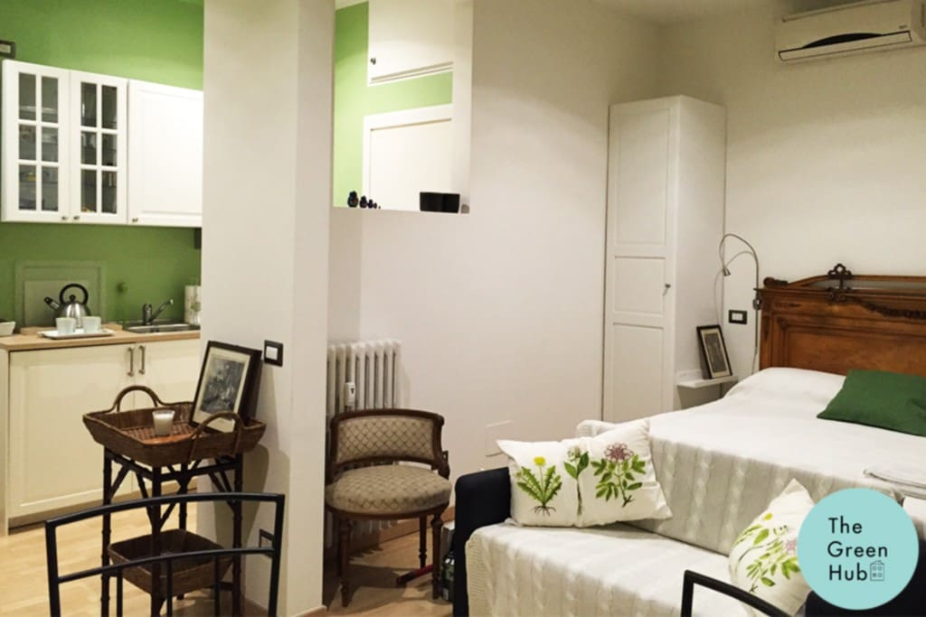 On the picture you can see the general outlook of the apartment space: the bedroom and the kitchen zones
