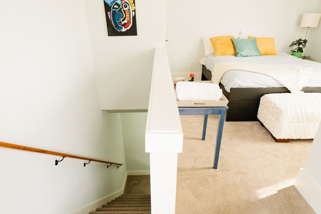 Your flat will have an upstairs sleeping area with bed and ottoman
