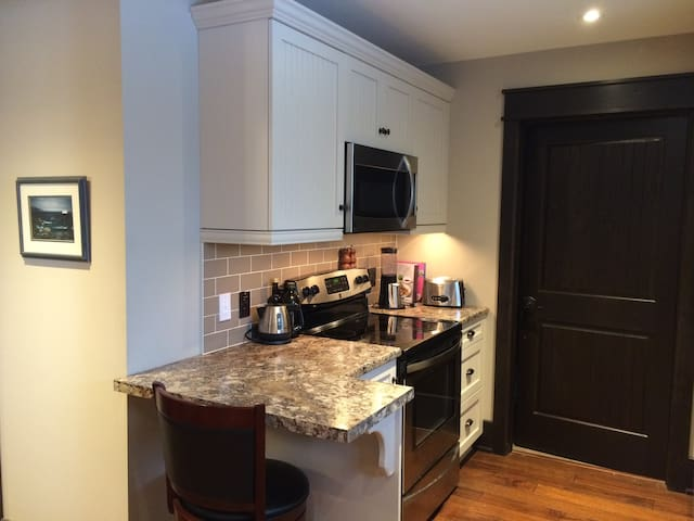 fully equipped kitchen with oven, stove, microwave and fridge