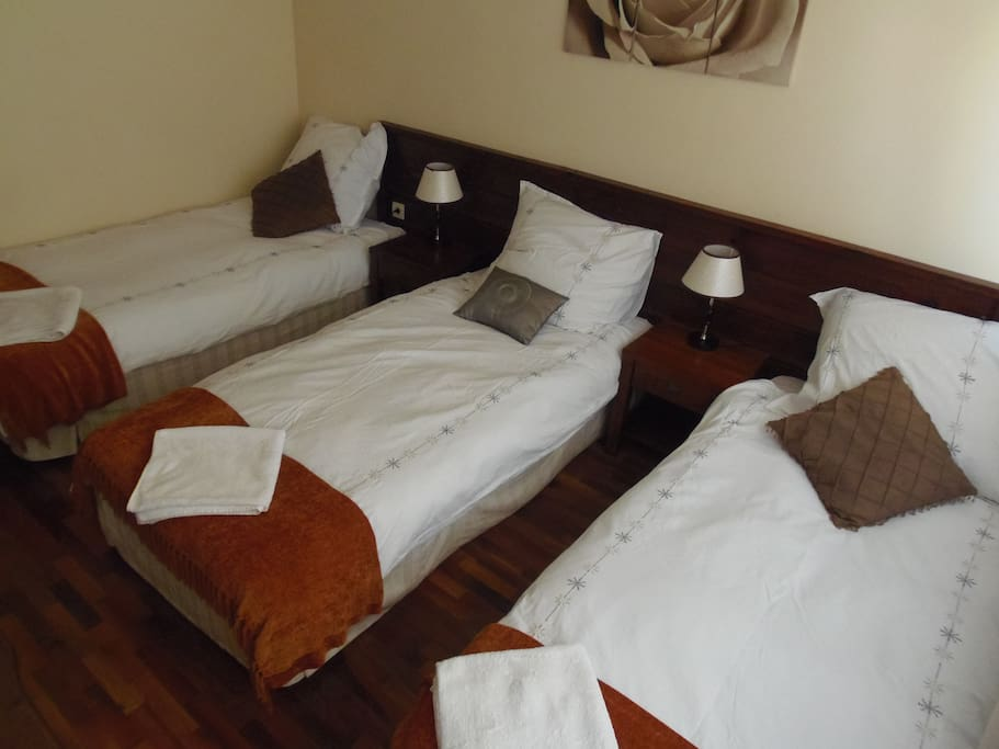 One of our rooms set up for three people in a room with out bunk beds