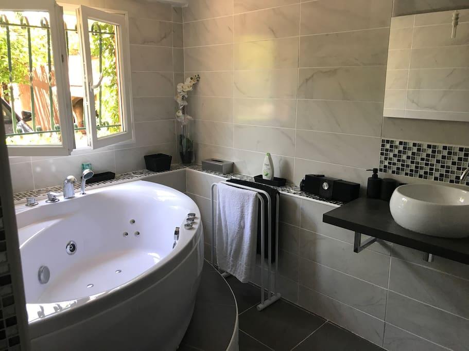 La salle de bain privative avec wc et baignoire jacuzzi.