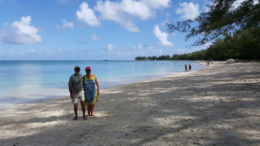 400m from the Impala Mauritius. The Mon Choisy beach. Jean Pierre and Claudine. Residents at the Impala Mauritius from léon, Bordeaux, France at Mon Choisy beach on 24th March 2017.