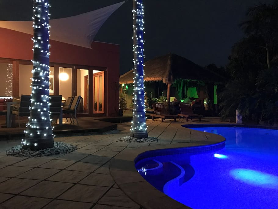 Pool and decking at night showing the lighting