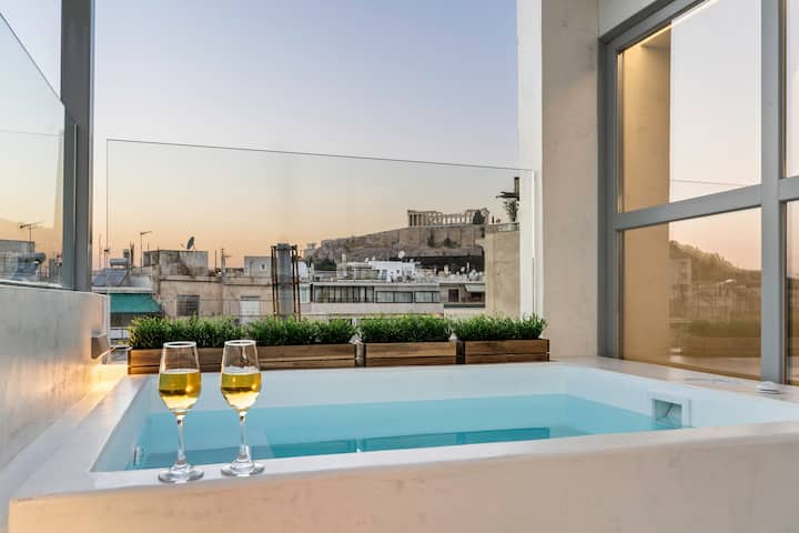 Acropolis view penthouse with heated plunge pool