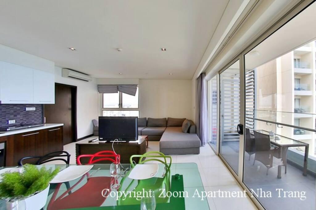 living room with big glass door