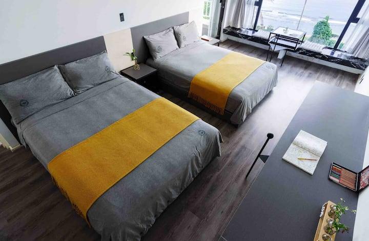 201·塞班岛设计师民宿 无敌海景房 双人床十干蒸房