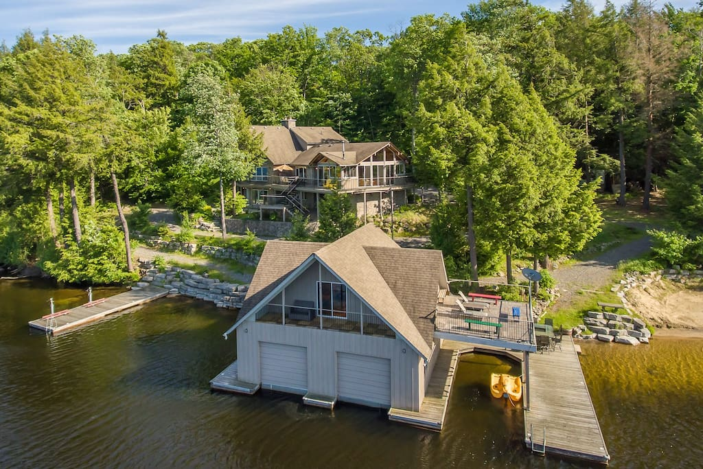 Arial Exterior Boathouse and Cottage