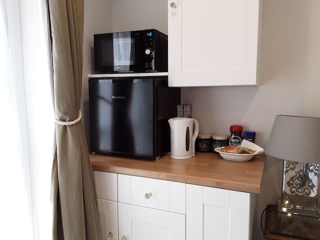 Small fridge  kettle microwave