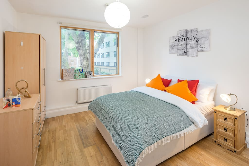 Second bedroom with park facing window - double sized bed
