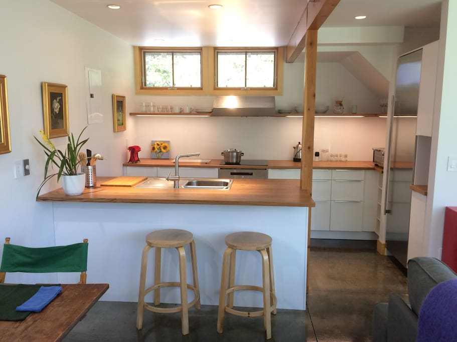 Kitchen area with induction stovetop, oven, fridge, coffee & espresso makers - plus fresh eggs from our chickens.