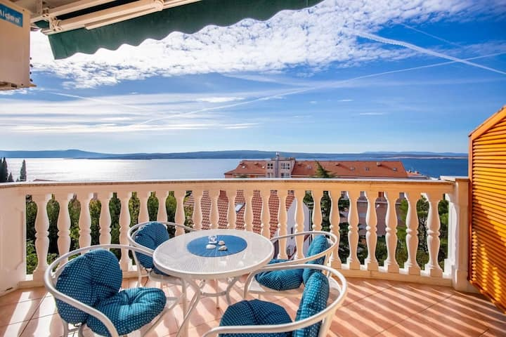 Two Bedroom Apartment, seaside in Crikvenica, Outdoor pool, Outdoor whirlpool, Balcony