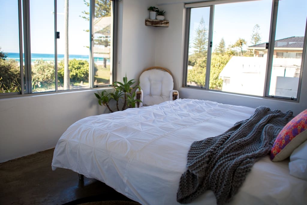 King bed with ocean views