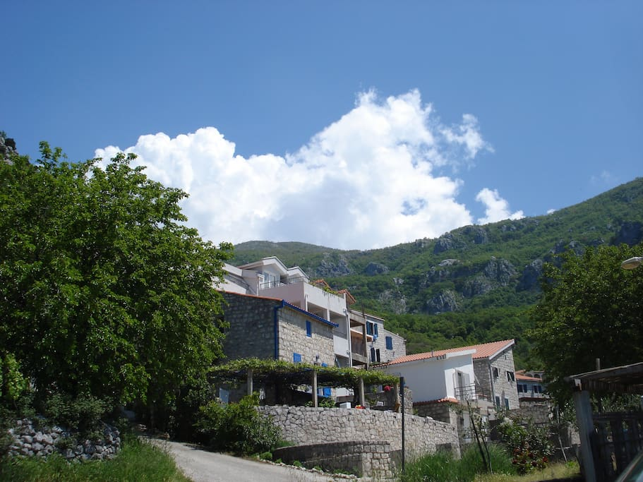 Our House is old stone house, it is the first on the left in the small village Kuljace
