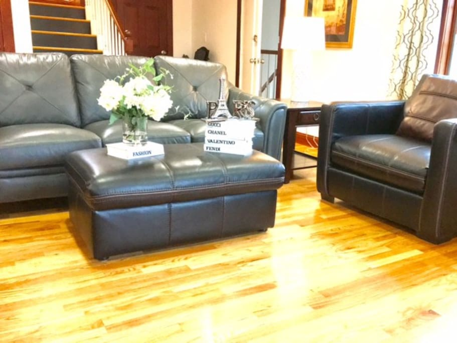 Sun drenched living room with brand new hard wood flooring.