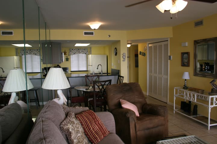 Living Room has access to the large balcony overlooking the Gulf of Mexico and white sandy beach.
