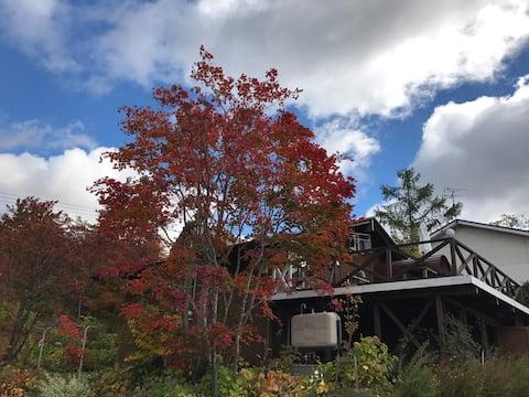 眺めの良い高原、温泉も楽しめる家