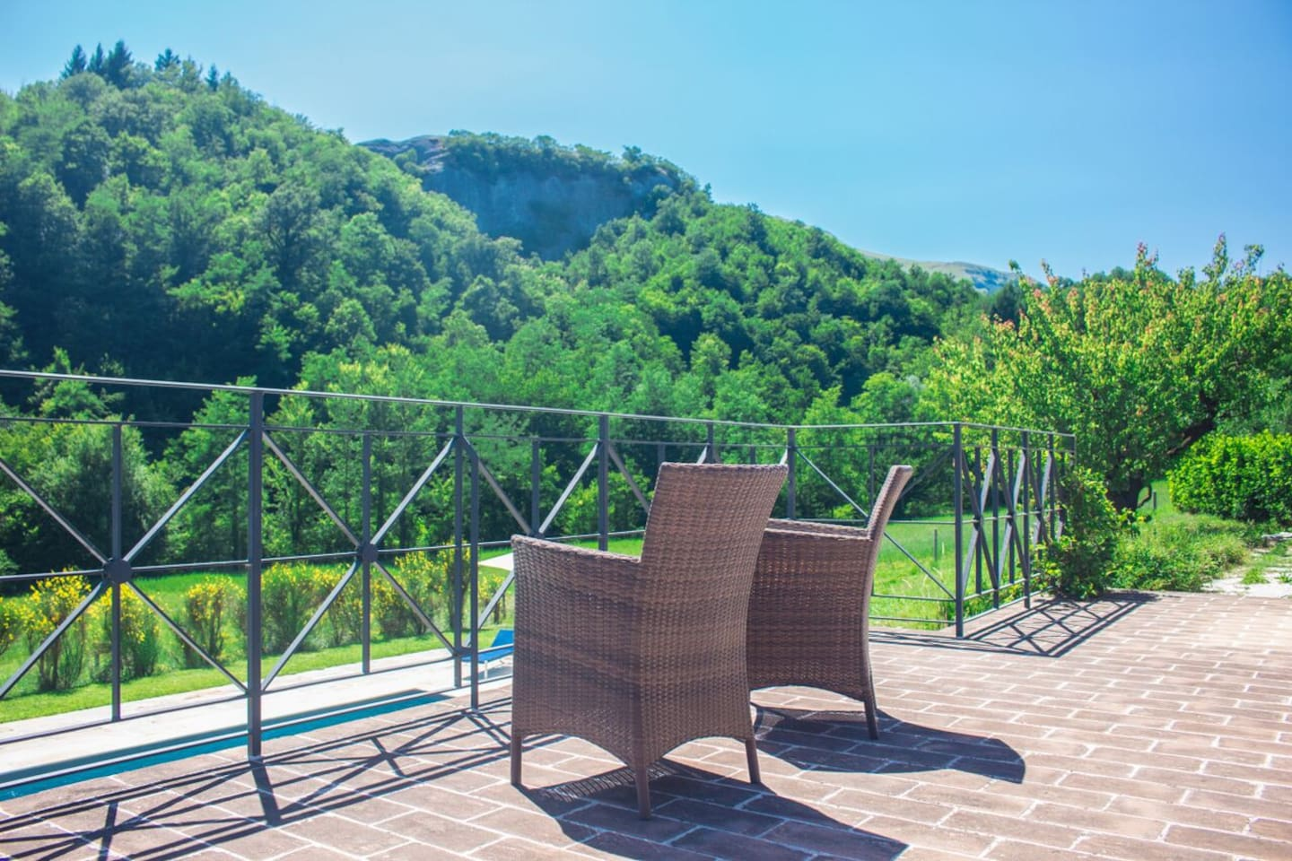 Villa nestled in secluded valley with grand terrace overlooking private pool