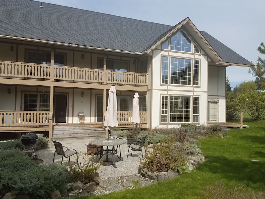 Spring view of back patio and porches