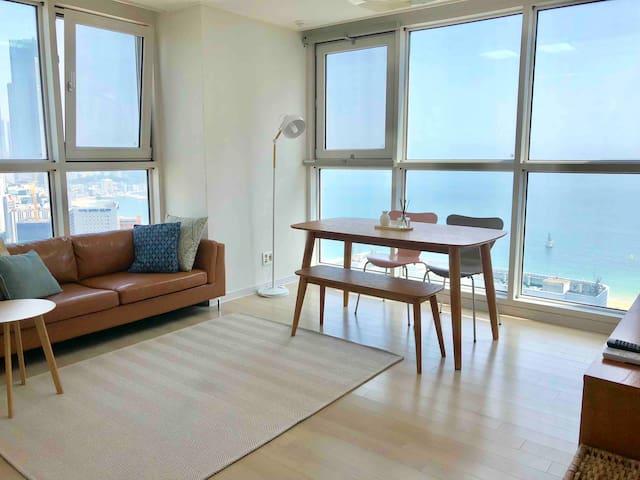 •NEW• SALE• 해운대 오션뷰 / 방2+ 거실&주방 +화장실 2 /최대6인가능